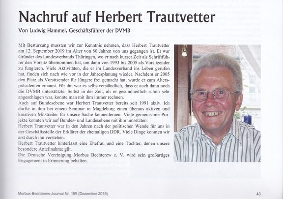Aus dem Bechterew Journal 159